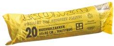 20 Rol./20 Hausmüllbeutel  LDPE+ Komo-Verschluss 60 x 80 cm, 55 my, grau