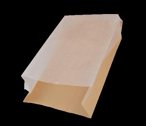 Snackzak ersatz 14x(2x3)x33cm bruin + semi transparant papieren venster