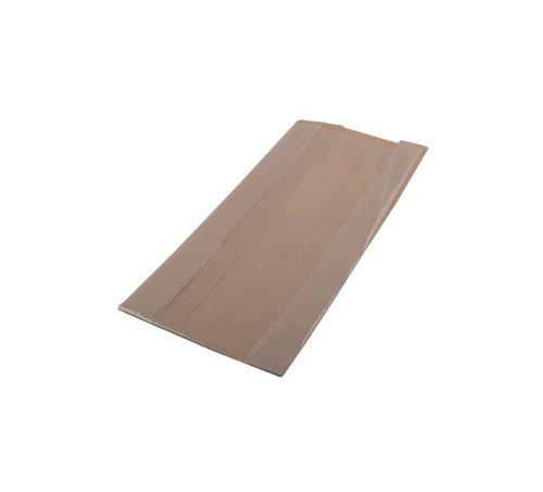 Zak papieren polykraft 14x(2x3)x33cm bruin met venster 50 grams