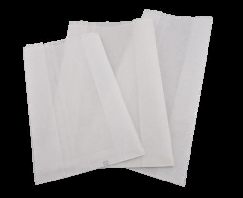 Broodzak papier + paraffine 18x9,5x46cm blanco groot lang