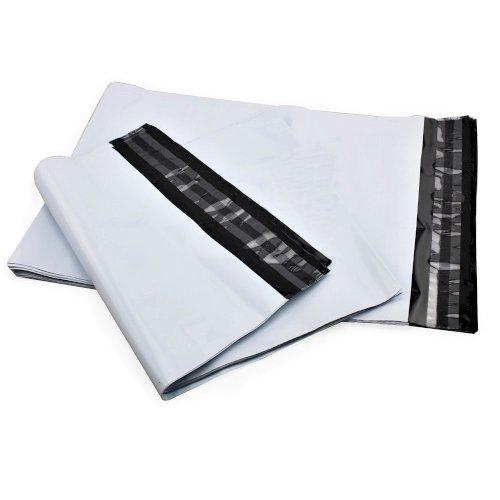 Webshopbag LDPE 60x43+8cm 70my wit/zwart met dubbele kleefstrip