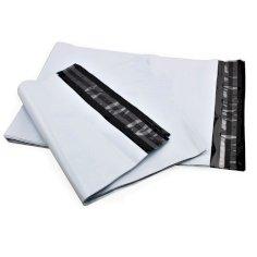 250 Onlineshop-Tüten LDPE 60 x 43 + 8 cm 70 my weiß/schwarz mit doppeltem Klebestreifen
