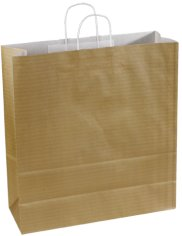 50 Tragetaschen, 100 g, gebl. Kraftpapier 32/6 x 41 cm, goldfarben mit gedrehtem Griff