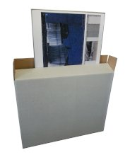 Carton tableau 995x150x775mm blanc kraft, avec rabats chevauchants