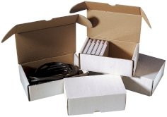Boîtes colis postal 280x220x80mm blanc ondulé B, fefco 427