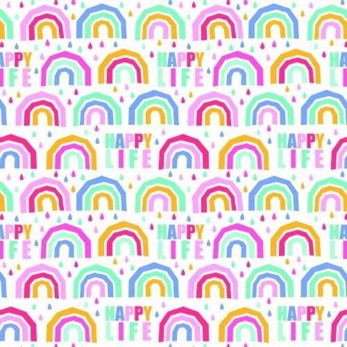 Dessinpapier PaperWise 50cm Happy Life regenboog