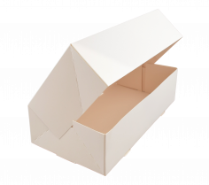 Duplex gebaksdoos 24x16x8cm 6 punts geplakt, 300g/m2, GC2