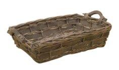 Korb Weide, rechteckig, Holzband grau T 40 x 30 x 10 cm