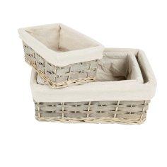 Set/3st korbe + Textilegewebe verschiedene Formate  Weide grau