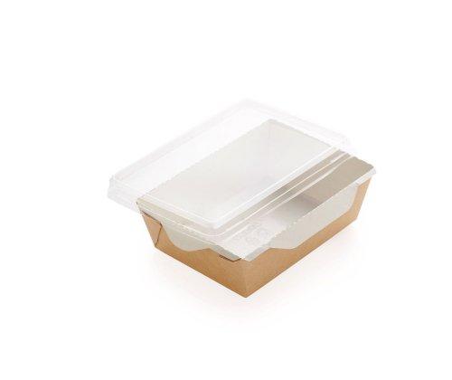 ECO take away salade box Kraft 207x127x55mm bruin + PET transparant deksel
