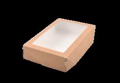 ECO take away box Kraft 200x120x40mm braun + fenster 1000ml