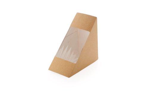 ECO take away sandwich box Kraft 130x130x70mm bruin driehoek + venster