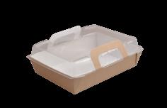 Mahlzeit Tablett Pappe-PP M 168x122x40mm braun / transp. Vision+