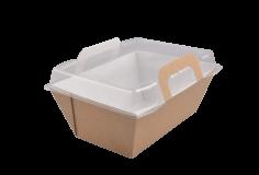Mahlzeitentablett Karton-PP 90x150x75mm braun / transp. Vision+