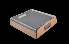 Präsentationstablett Karton-RPET 26x26x6cm braun / transp. Vision+