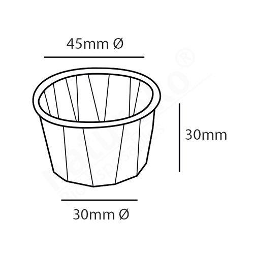 Papieren sausbakje 1,25oz (37ml) bruin FSC 45mm dia top, 30mm hoog