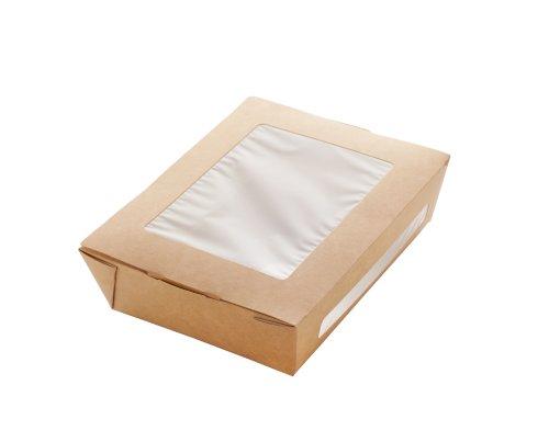 ECO take away salade box Kraft 190x150x50mm bruin + venster 1000ml