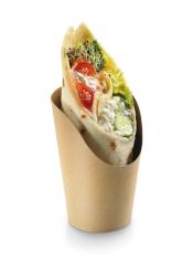 Tortilla/wrap cup kraft FSC 60mmØ 118 mm avec revêtement PLA