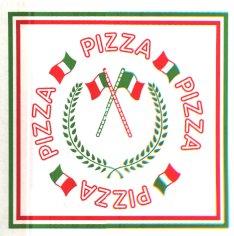 150 Pizzakartons, 300 x 300 x 35 mm Kraftliner 115 g weiss Aufdruck rot+grün