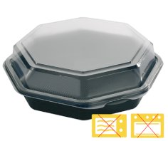 405 Octaview-Behälter 8-eckig PS, 160 x 60 mm rund 830 ccm schwarz + fester Deckel