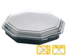 190 Octaview-Behälter 8-eckig PS, 230 x 50 mm rund 1580 ccm schwarz + fester Deckel
