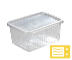 Mahlzeitbehälter PP rechteckig 180x133x34mm 500cc transparent, verschliessbar, mikrowelle