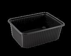 Mahlzeitbehälter PP rechteckig 180x133x63mm 1000cc schwarz, verschliessbar, mikrowelle