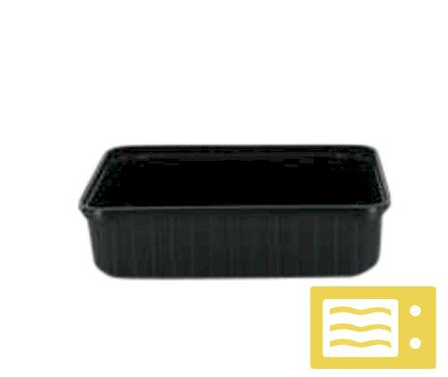 Bak PP rechthoek 180x133x93mm 1500cc, zwart, sealbaar, magnetron