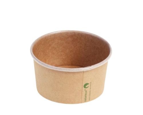 Multi foodpot kraft 240ml/8oz bruin 96mm Ø, 51mm met PLA coating