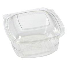 600 Mahlzeitbehälter RPET, 130 x 127 x 2 mm 375 ml transparent, fester Deckel