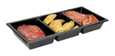 350 Mahlzeitbehälter RPET 250x120x31mm 600ml 3 Fächer, schwarz, Gourmet Express