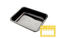 306 CPET-Schalen, 1 Fach, 226 x 177 x 50 mm 1350 ccm schwarz, Deckel: 456071