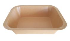 Mahlzeitbehälter kraft + Pet 600cc Paperpack Kartoseal Oberseite 178x136x45mm