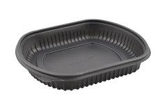 250 Behälter für Mahlzeiten PP 220x200x40mm 1000 ccm, 1 Fach, schwarz, Deckel 456211+456223