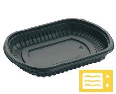 252 Behälter für Mahlzeiten PP 205x167x40mm 700 ccm, 1 Fach, schwarz, Deckel 456199+456223