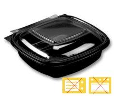 600 Mahlzeitbehälter APET, 130 x 127 x 40 mm 250 ccm schwarz mit transparentem Deckel