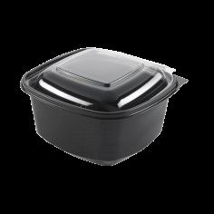 600 Mahlzeitbehälter APET, 130 x 127 x 64 mm 500 ccm schwarz mit transparentem Deckel