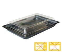 Couvercles boîte à sushi APET 214x142x21mm transparent (fond: 456503)