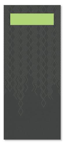 Bestekzak d. groen+champ. servet 18,6x8,3cm
