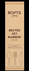500 Besteckset Bambus 175mm ROOTS Gabel / Messer / Löffel / Serviette