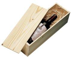 1-fles schuifdeksel wijnkist hout 337x95x87mm