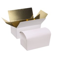 Ballotin 250gram 112x61x55mm wit/goud, glanzend laminaat + rillijn