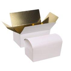 Ballotin 500gram 132x76x70mm wit/goud glanzend laminaat + rillijn