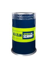 Afvalbak 135ltr 50x80cm blauw/groen inclusief deksel met opening13,5cm vlamdovend