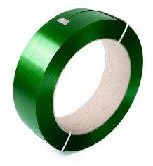 Omsnoeringsband PET groen 9x0.6mm, kern 400mm, gewafeld