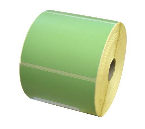 Etiket 90x74mm l. groen thermal afscheurbaar, afneembaar, watergedragen inkt