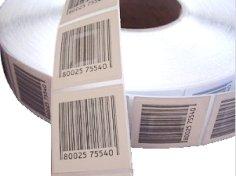 2.000 Sicherheitsetiketten, 30 x 40 mm RF weiß mit Barcode, elektromagnetische Elemente