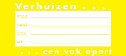 Verhuis etiket 105x47mm geel, afneembaar