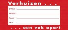 Verhuis etiket 105x47mm rood, afneembaar