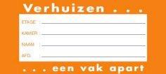 Verhuis etiket 105x47mm oranje, afneembaar
